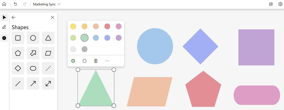 Microsoft Whiteboard - Aggiunta forme