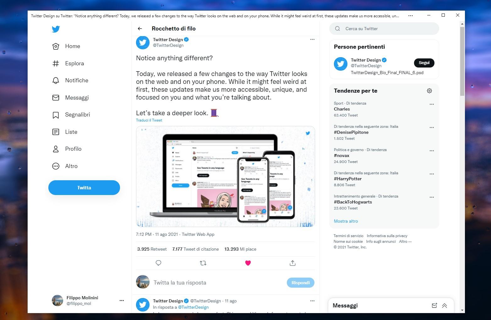PWA di Twitter per Windows - Nuovo design e font