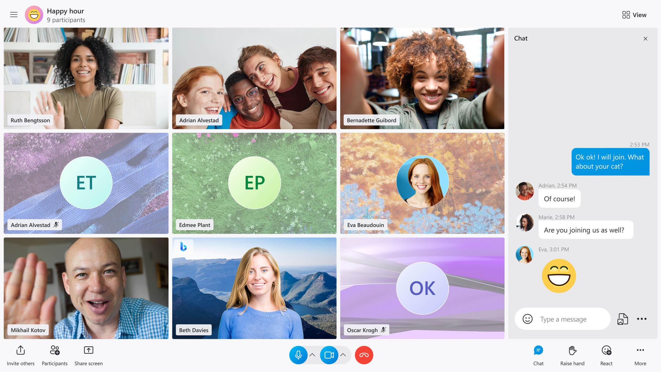 Skype - Nuova esperienza di chiamata con tutti i partecipanti