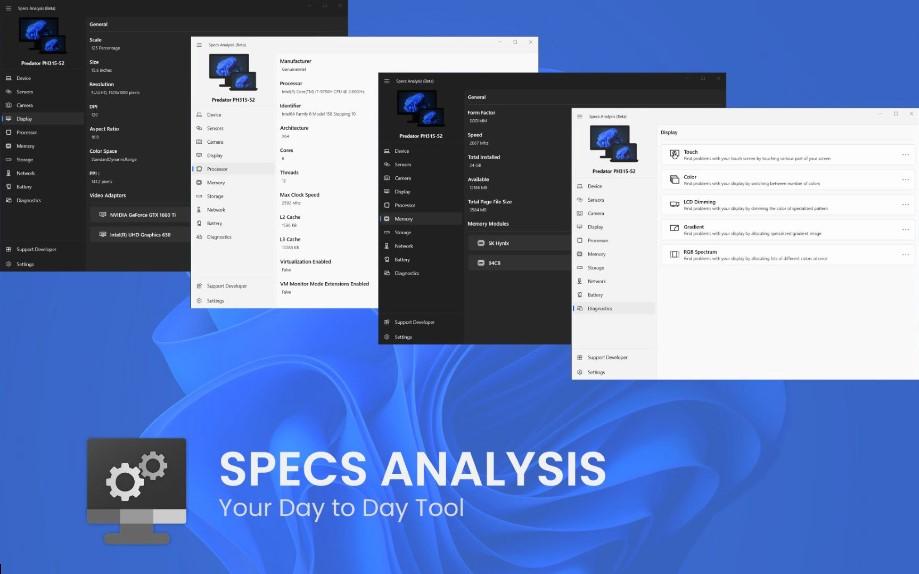 Specs Analysis (Beta) - App per Windows - Mostra informazioni di diagnostica sul sistema