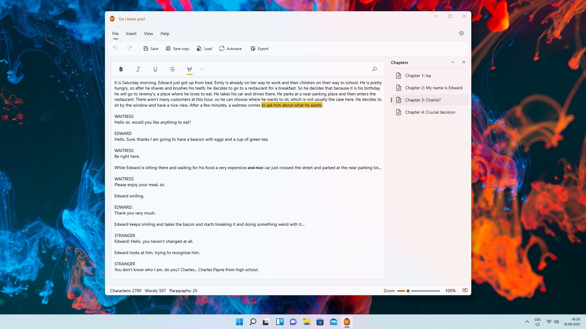 Storylines - App per Windows - Editor di testo con suddivisione in capitoli