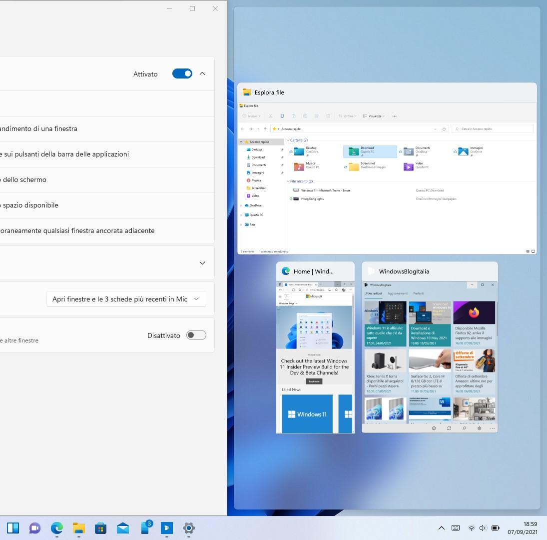 Windows 11 - Affiancamento delle finestre con effetto acrilico del Fluent Design