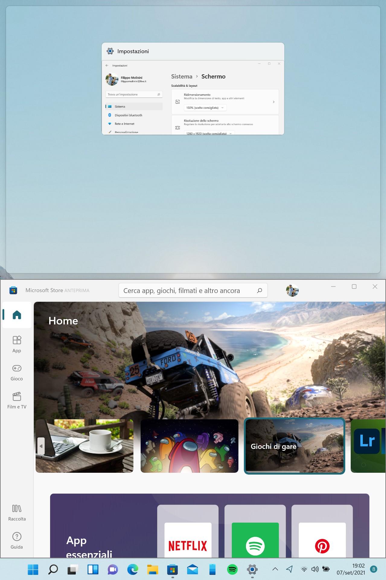 Windows 11 - Affiancamento di due finestre con il dispositivo in verticale