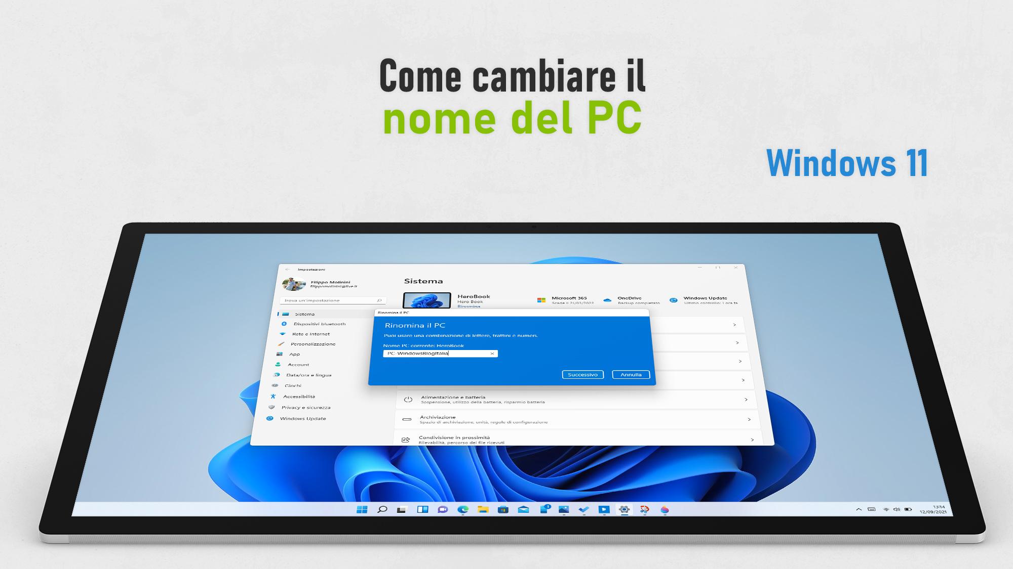 Windows 11 - Cambiare il nome del PC