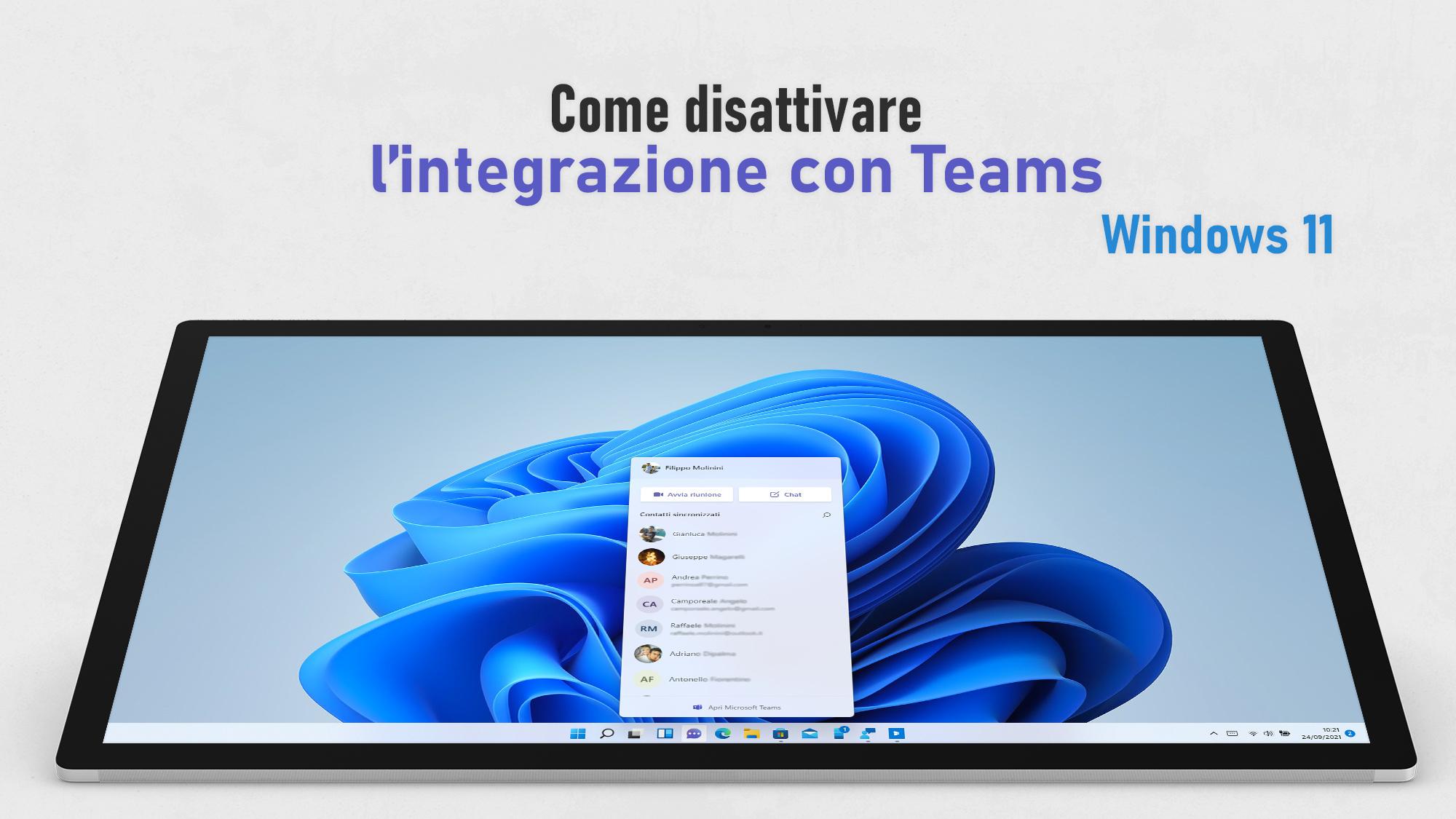 Windows 11 - Chat - Come disattivare l'integrazione con Microsoft Teams