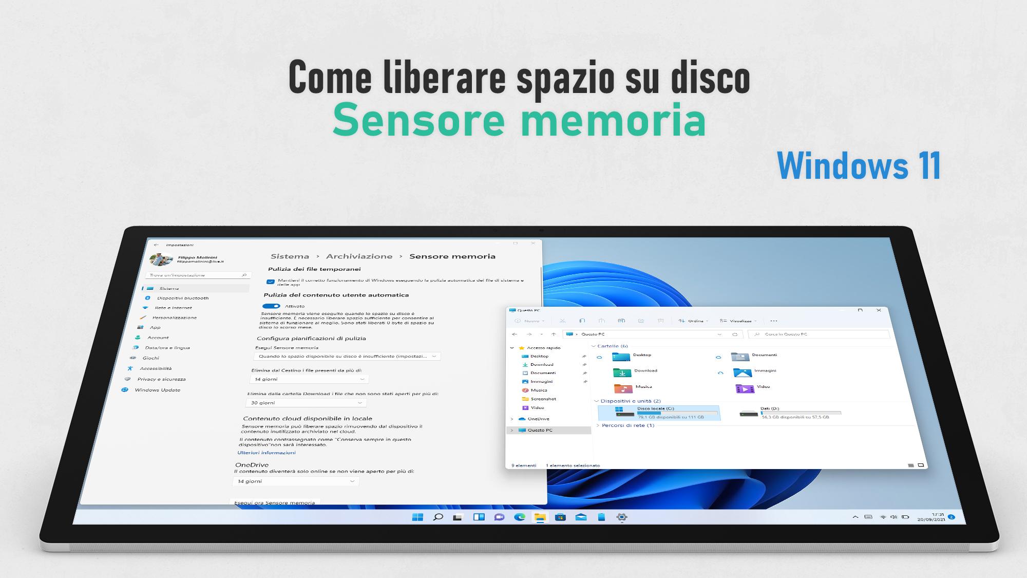 Windows 11 - Come liberare spazio su disco con Sensore memoria