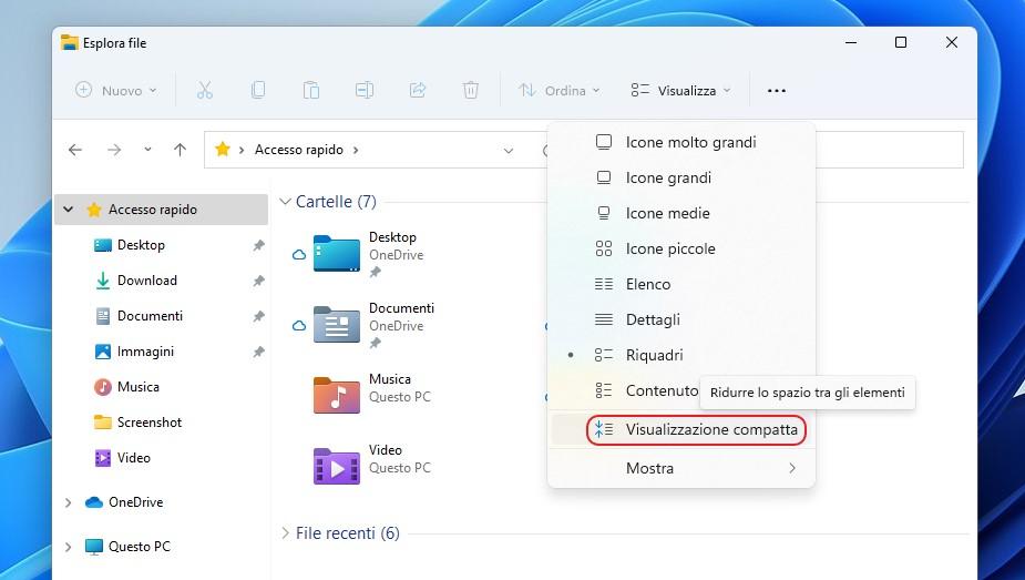 Windows 11 - Esplora file - Visualizzazione compatta