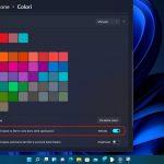 Windows 11 - Impostazioni - Personalizzazione - Colori - Mostra il colore principale su Start e barra delle applicazioni