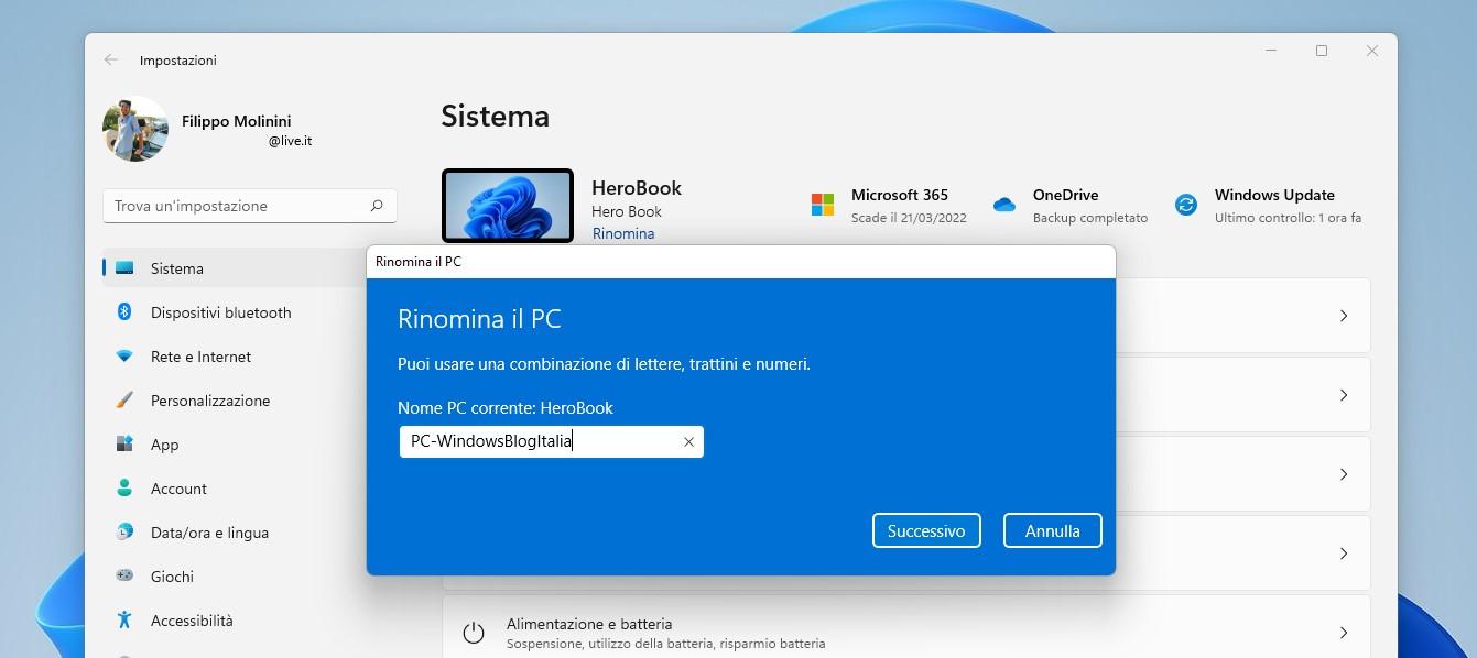 Windows 11 - Impostazioni - Rinomina il PC