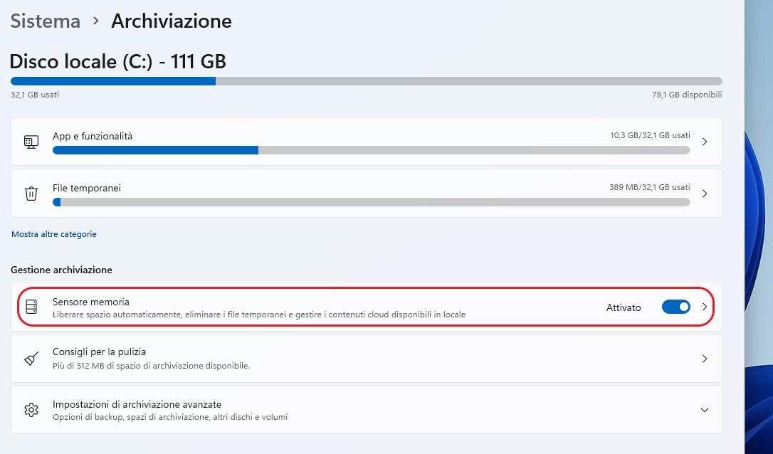 Windows 11 - Impostazioni - Sensore memoria