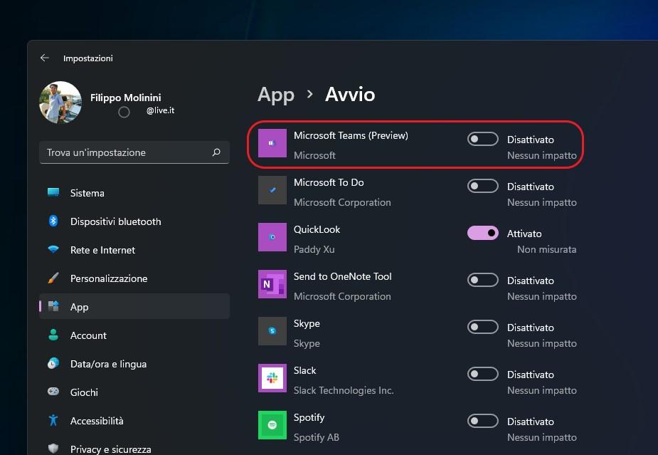 Windows 11 - Impostazioni di avvio delle app - Microsoft Teams