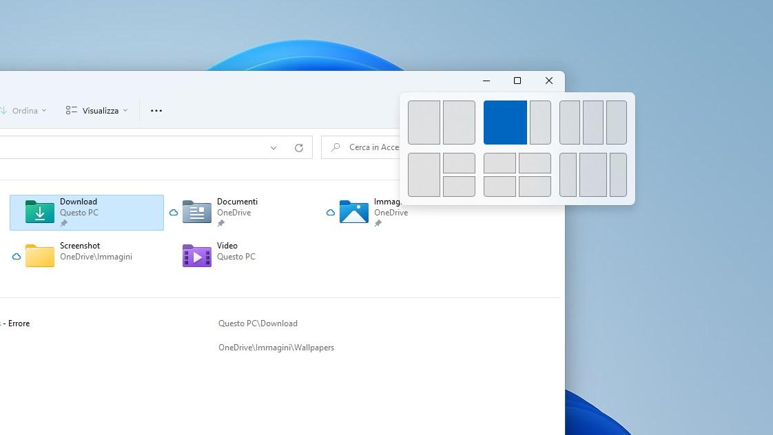 Windows 11 - Opzioni di affiancamento finestre