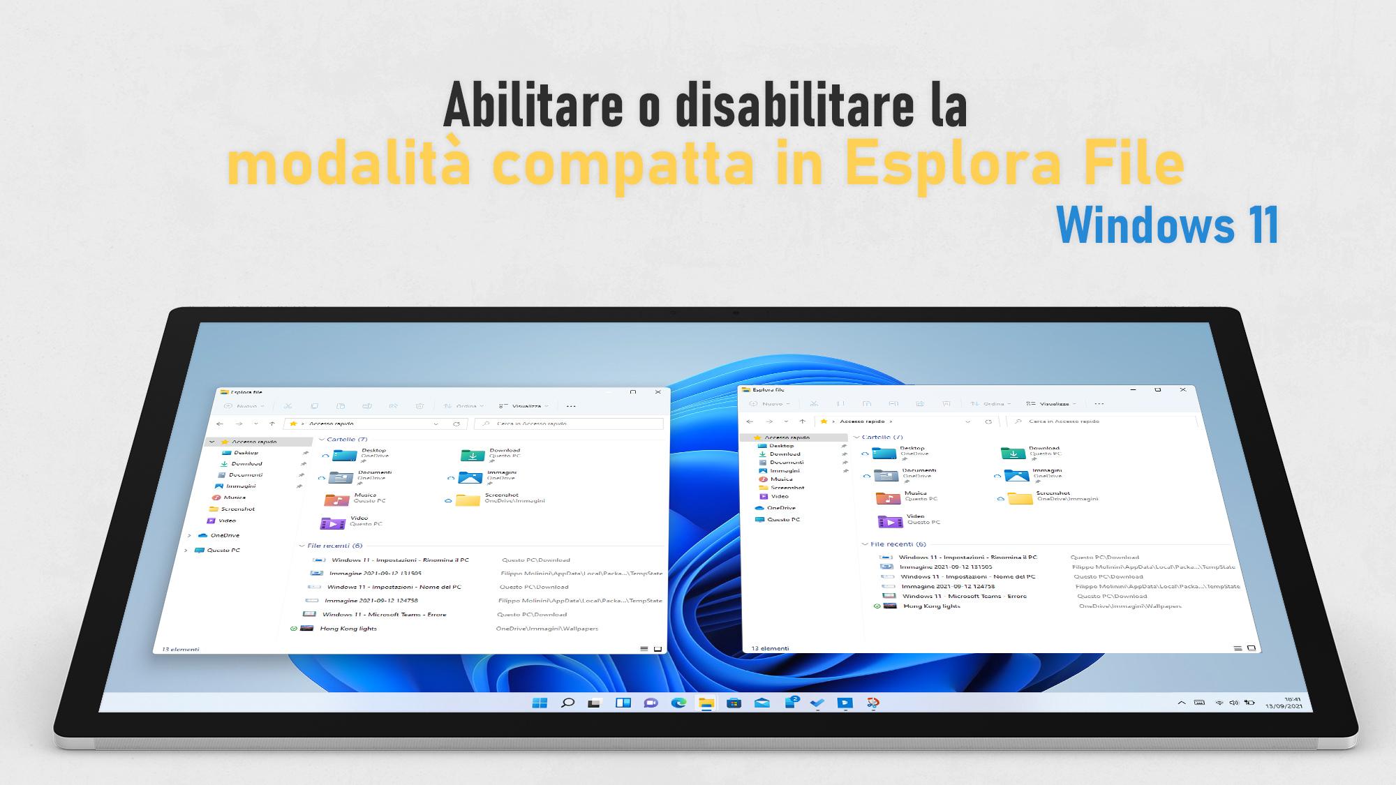 Windows 11 - Visualizzazione compatta in Esplora file