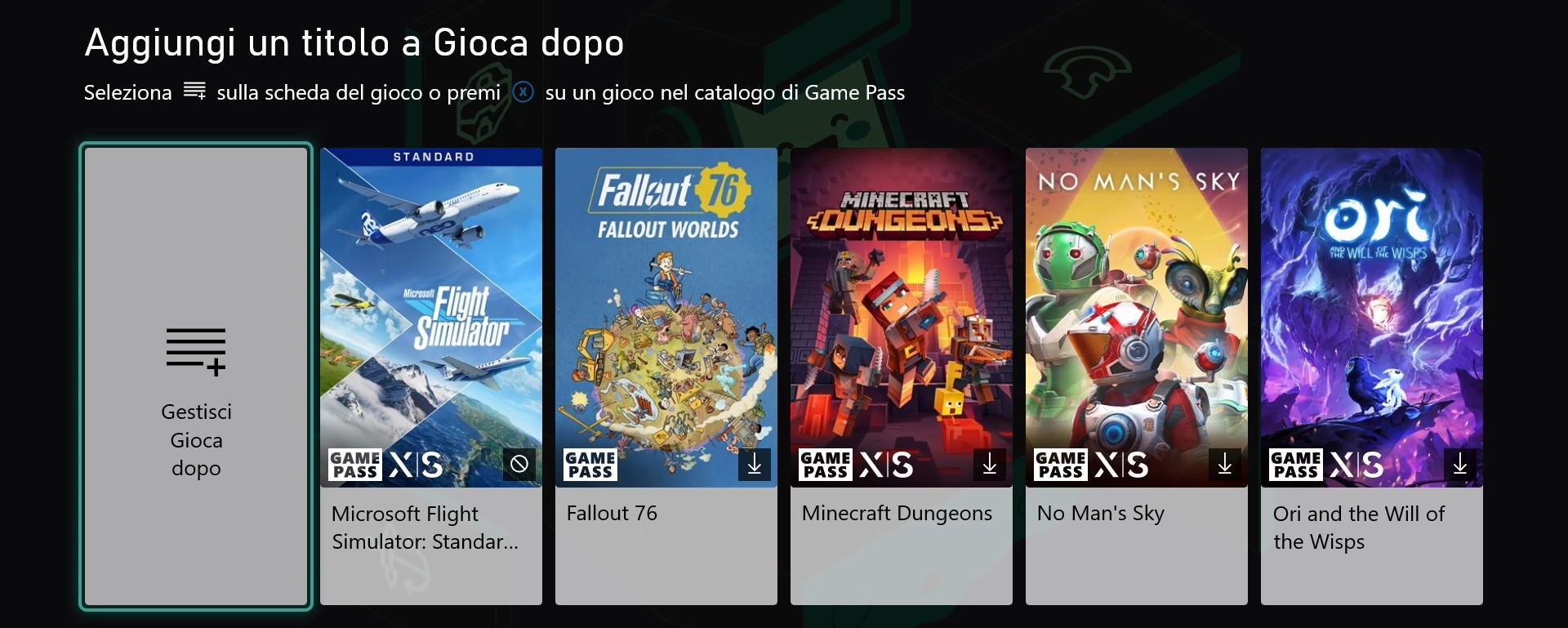 Xbox - Game Pass - Sezione Gioca dopo