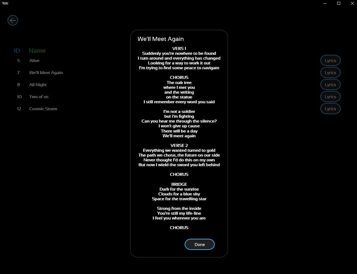 Yoti - App per Windows - Riconosce la musica in riproduzione