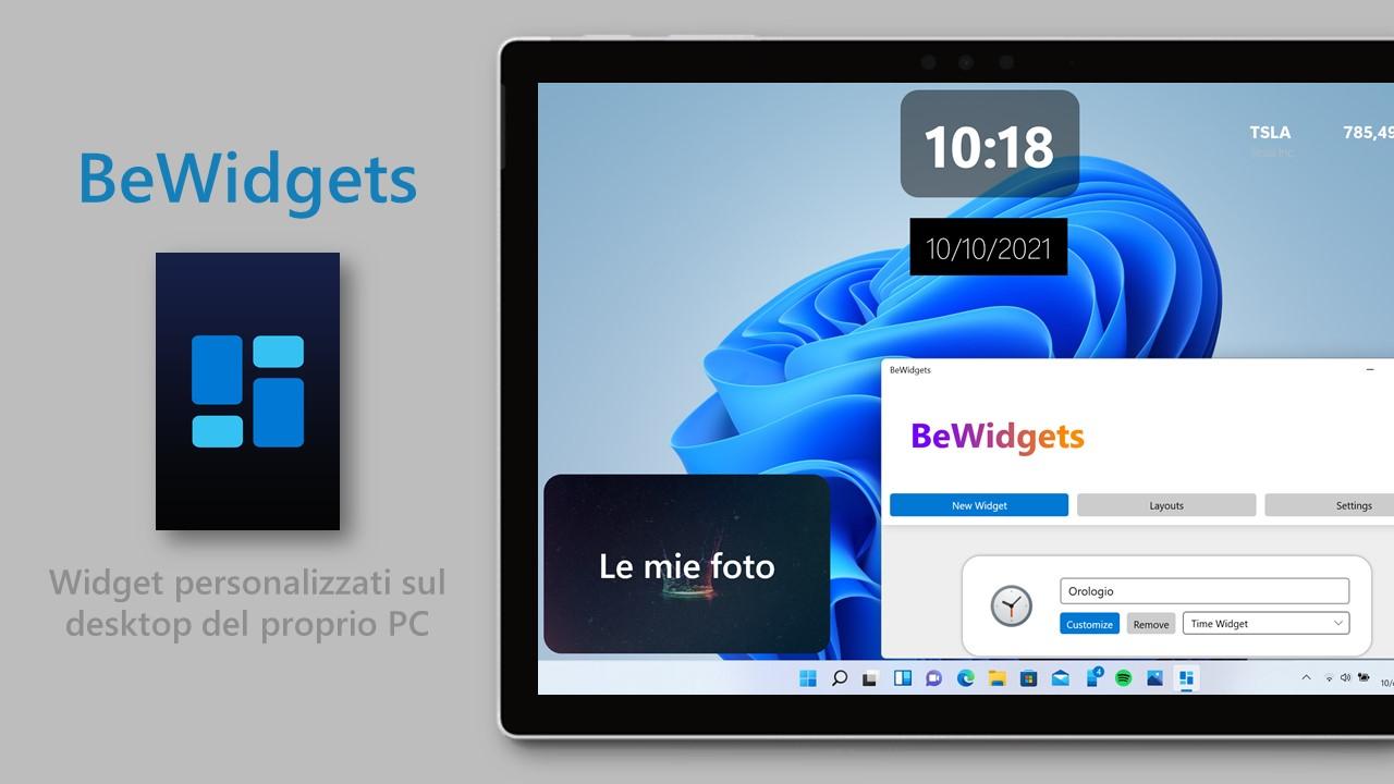 BeWidgets - Windows 10 e Windows 11 - Widget personalizzati sul desktop del PC