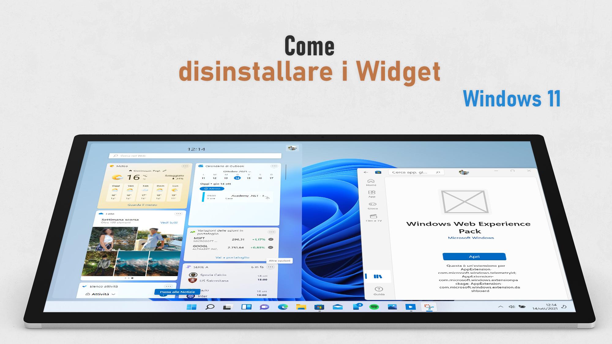 Windows 11 - Come disinstallare i Widget