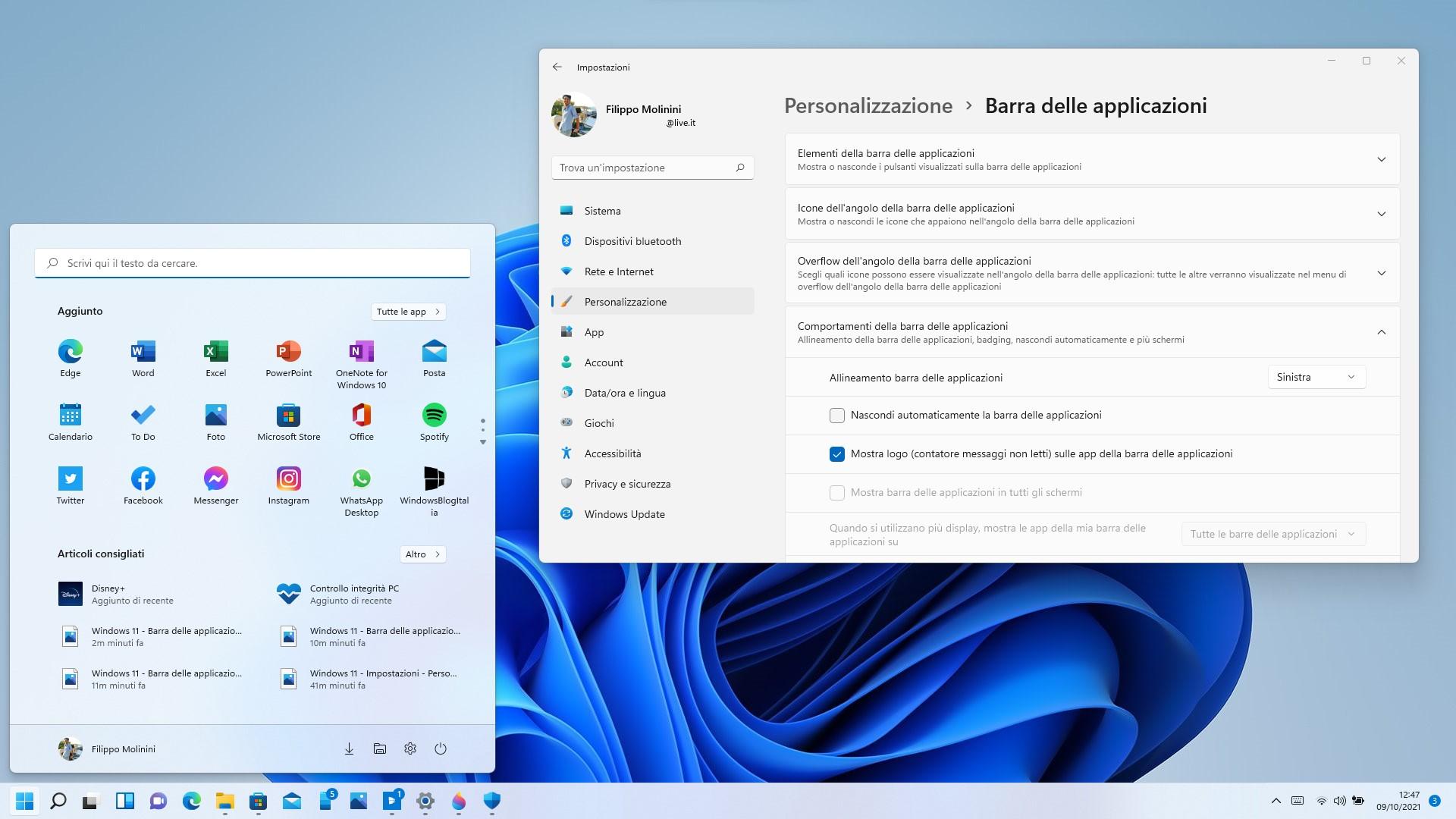 Windows 11 - Impostazioni - Allineamento della barra delle applicazioni a sinistra