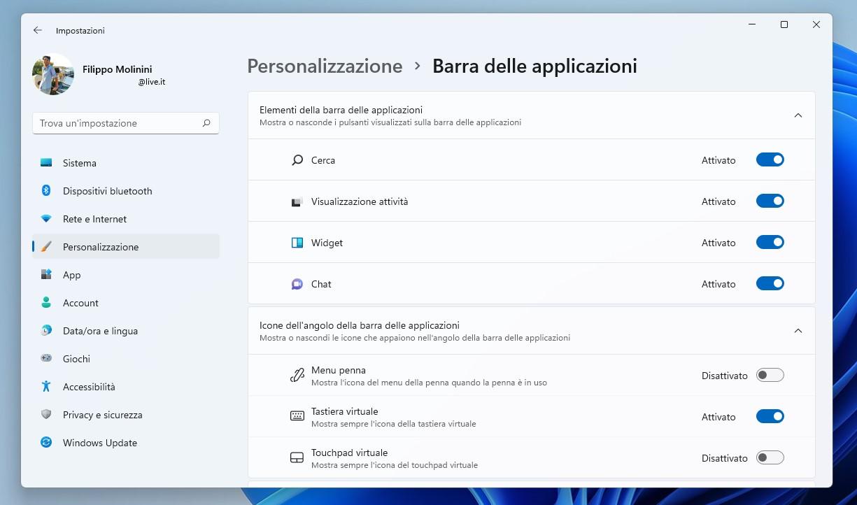 Windows 11 - Impostazioni - Personalizzazione delle icone presenti sulla barra delle applicazioni