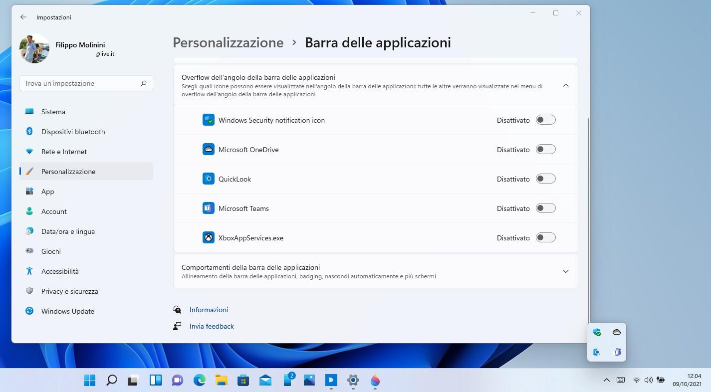 Windows 11 - Impostazioni - Personalizzazione overflow dell'angolo della barra delle applicazioni