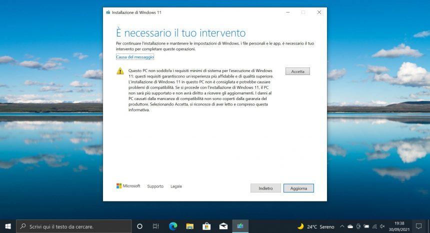 Windows 11 - Messaggio di incompatibilità del PC dall'installazione del nuovo sistema operativo
