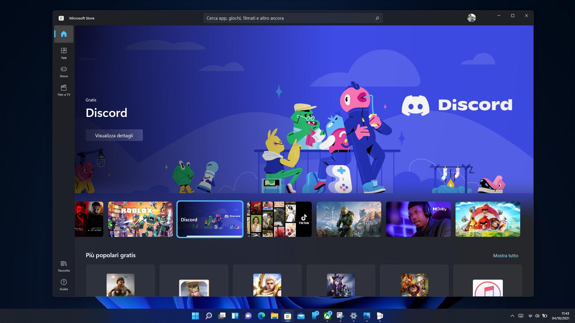 Windows 11 - Microsoft Store - Pagina principale - Tema scuro