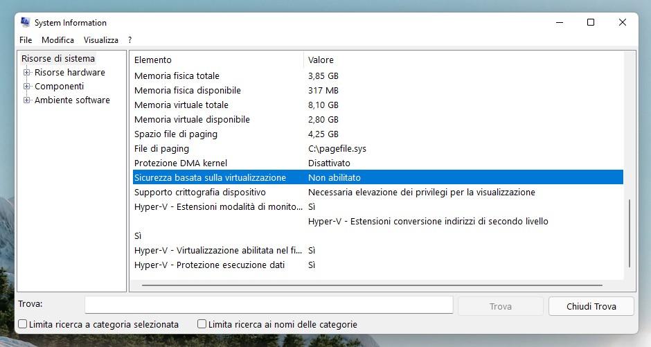 Windows 11 - System Information - Sicurezza basata sulla virtualizzazione