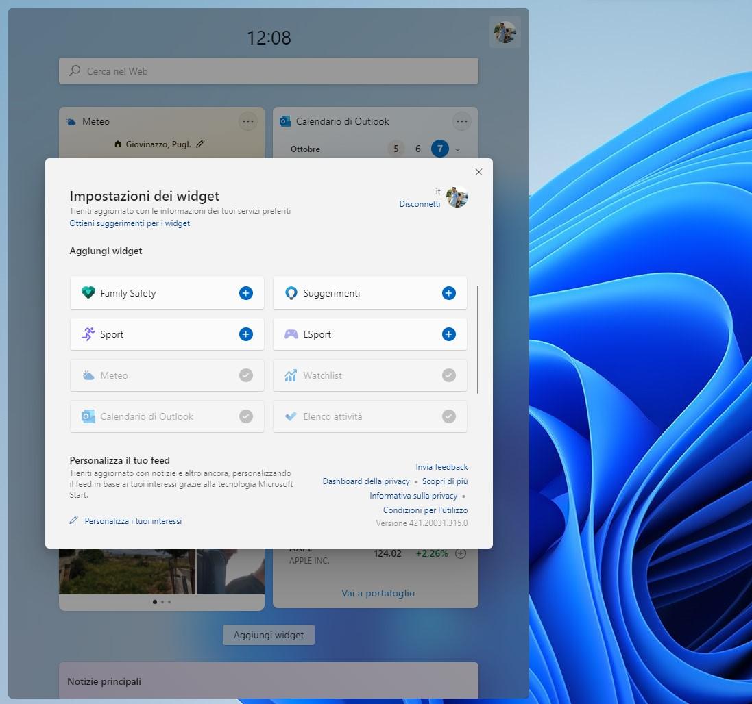 Windows 11 - Widget - Impostazioni dei widget