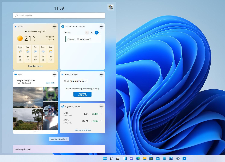 Windows 11 - Widget - Pannello laterale aperto